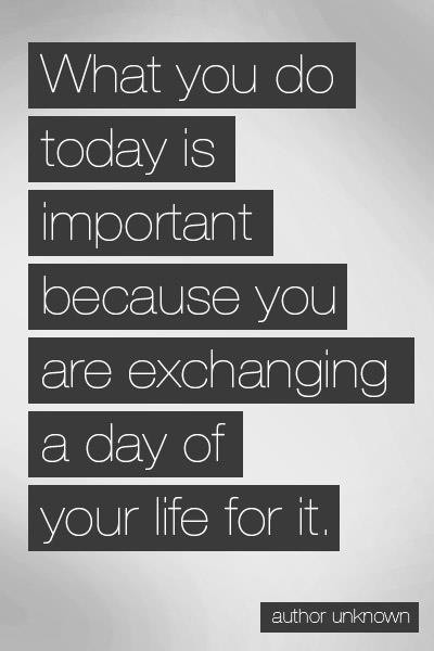 What You Do Today Is Important because You are exchanging a day of Your Life for It ~ Driving Quote