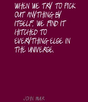 When we try to pick out anything by itself,we find it hitched to everything else in the universe ~ Environment Quote