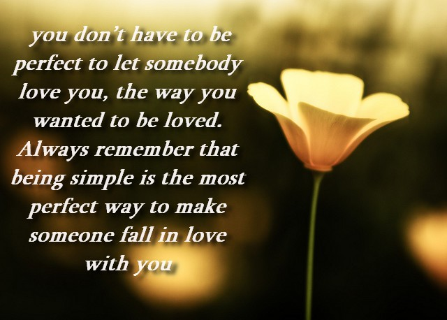 You Don't have to be Perfect to let Somebody Love You ~ Being In Love Quote