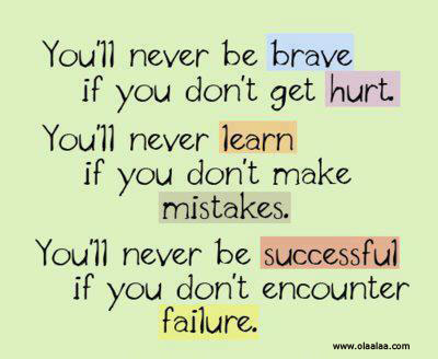 You'll Never be Brave If You Don't Get Hurt ~ Failure Quote