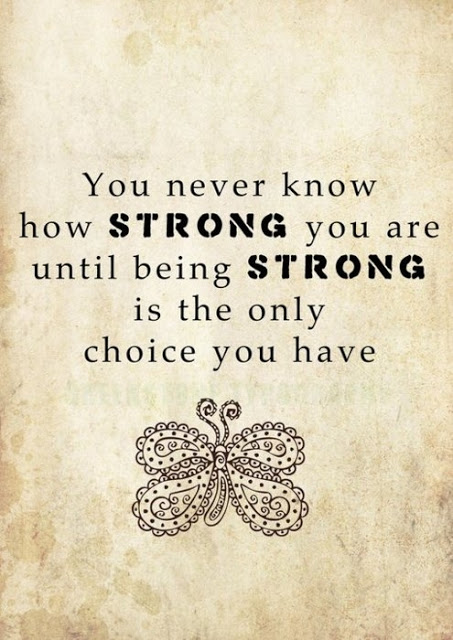 You Never Know how Strong You are Until being Strong Is the only Choice You Have ~ Blessing Quote