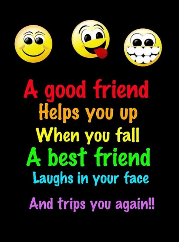 A Good Friend Helps you Up When You Fall A Best Friend Laughs In your Face And Trips You Again ~ Friendship Quote