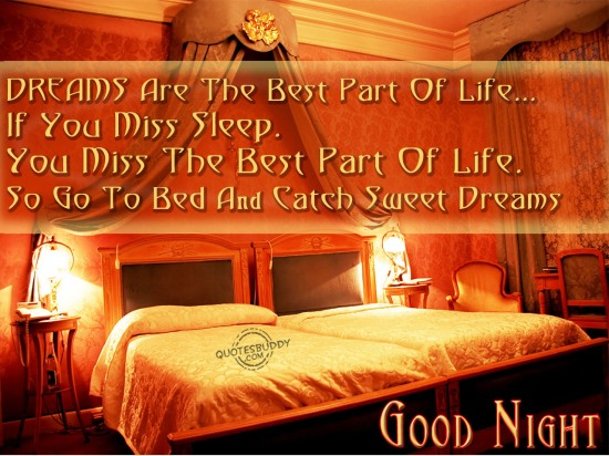 Dreams Are The Best Part Of Life If You Miss Sleep So Go To Bed And Catch Sweet Good Night Quote