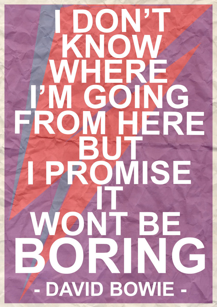 I Don't Know Where I'm Going From Here But I Promise It Wont Be Boring ~ Inspirational Quote