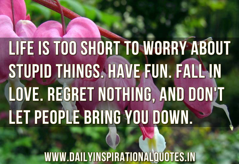 life is too short to worry about stupid things have fun