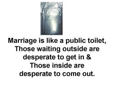 Marrige Is Like a Public Toilet ~ Funny Quote about Marrige