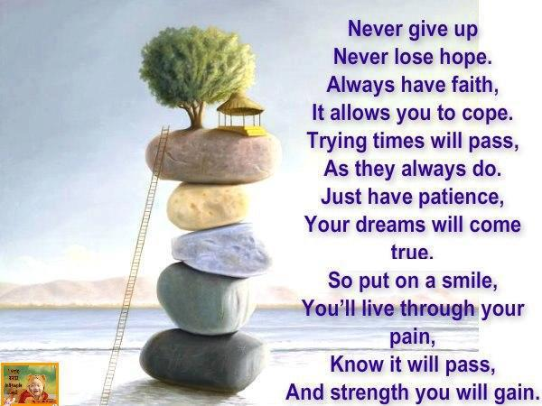 Never give up never lose hope always have faith Inspirational quotes about hope