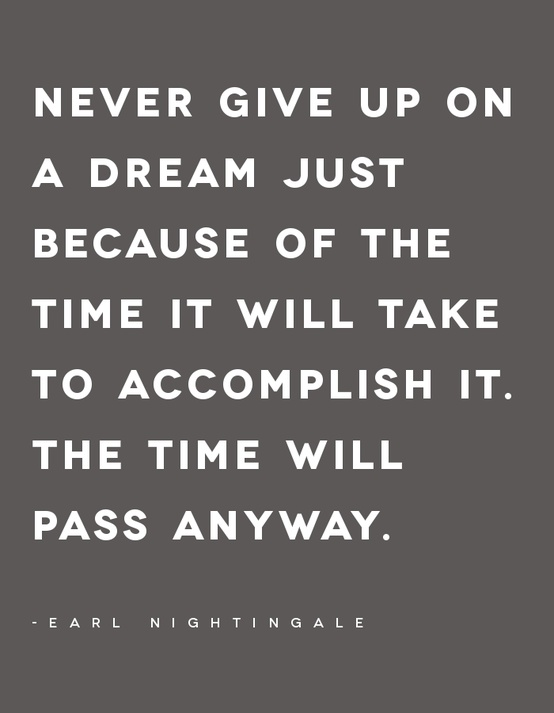 Never Give Up On A Dream Just Because of The Time It Will Take To Accomplish It.The Time Will Pass Anyway ~ Goal Quote