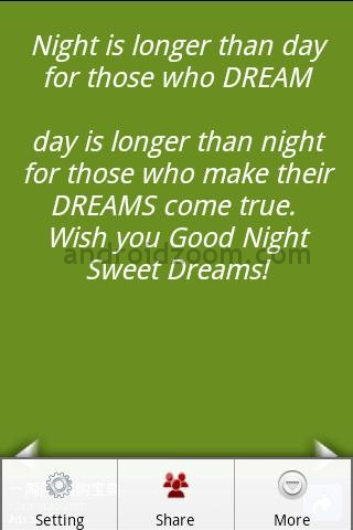 Night Is Longer than Day for those Who Dream,Day Is Longer than Night for those wo make Their Dreams come true ~ Good Night Quote