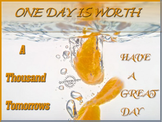 One day is worth a thousand tomorrows ~ Good Day Quote