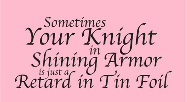Sometimes Your Knight In Shining Armor Is Just a Retard In Tin Foil ~ Funny Quote
