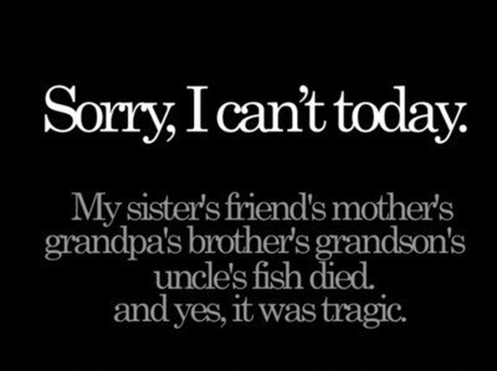 Sorry,I Can't Today ~ Funny Quote