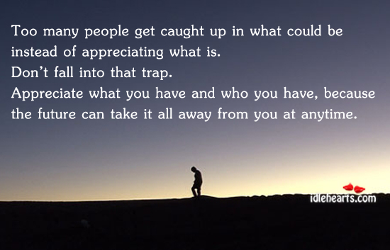 Too Many People Get Caught Up In What Could Be Instead Of Unique Quotes About Appreciating Life