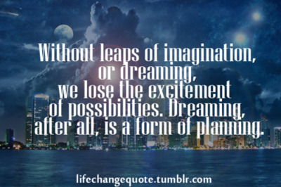 Without Leaps of Imagination,or Dreaming We Lose the Excitement of Possibilities.Dreaming after All,Is a form of Planning ~ Goal Quote
