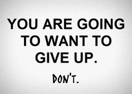 You Are Going To Want To Give Up ~ Goal Quote