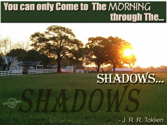 You can only come to the morning through the shadows ~ Good Morning Quote