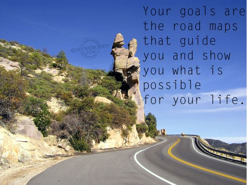 Your goals are the road maps that guide you and show you what is possible for your life ~ Goal Quote