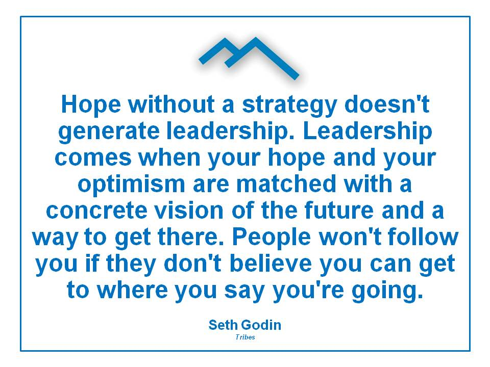 Hope Without Strategy Doesn't Generate Leadership.Leadership Comes When Your Hope And Your Optimism Are Matched With a Concrete Vision of the Future and a way to get there ~ Leadership Quote