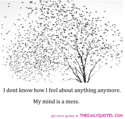 I Dont Know How I Feel About Anything Anymore. My Mind Is A Mess ~