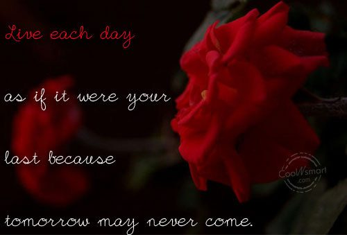 Live each day as if it were your last because tomorrow may never come ~ Life Quote