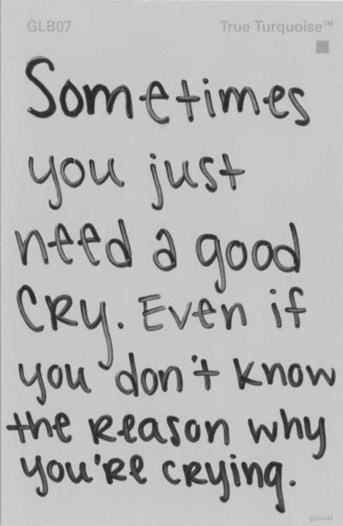 Sometimes You Just Need a Good Cry. Even If You Don't Know The Reason Why You're Crying ~ Life Quote