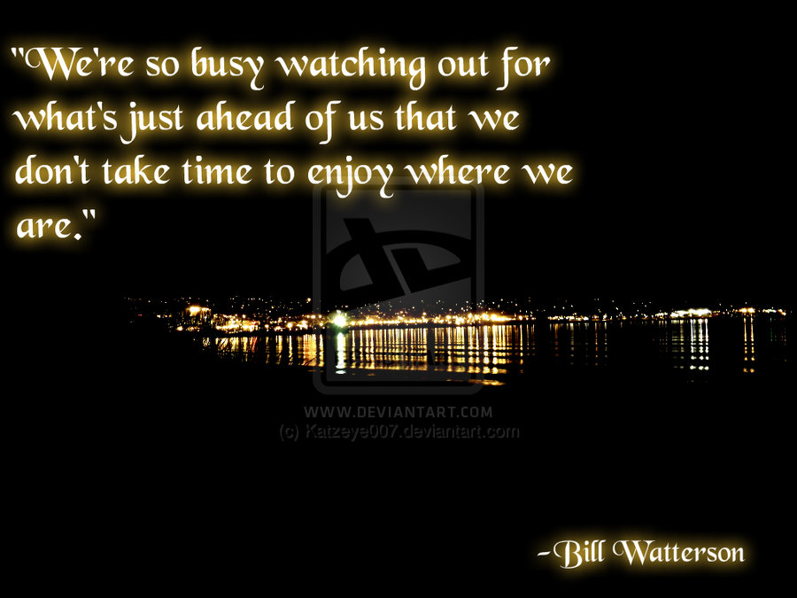 """We're So Busy Watching Out For What's Just ahead of us that we Don't take time to enjoy where we are"" ~ Joy Quote"