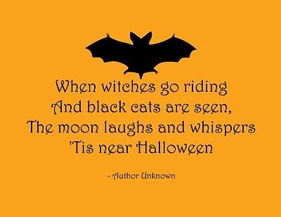 When Witches Go Riding and Black Cats are Seen.The Moon Laughs and Whispers Tis Near Halloween ~ Halloween Quote