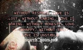 Without Respect Love Is Lost,Without Caring Love Is Boring,Without Honesty Love Is Unhappy,without Trust Love Is Unstable ~ Honesty Quote