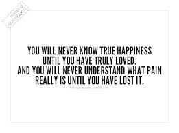 You Will Never Know True Happiness Until You Have Truley Loved.And You Will Never Understand What Pain Really Is Until You Have Lost It ~ Happiness Quote