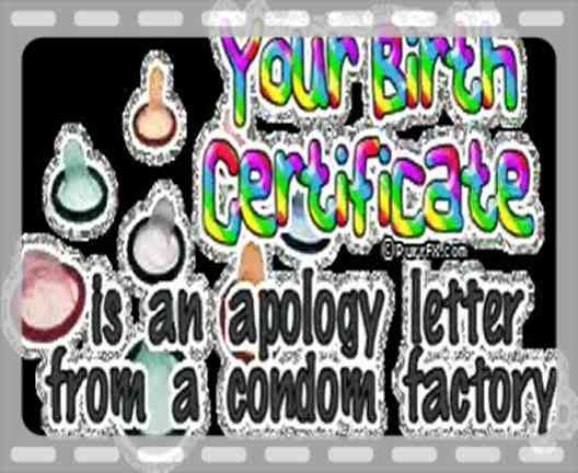 Your Birth Certificate Is an Apology Letter From a Condom Factory ~ Insult Quote