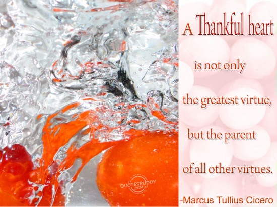 """ A Thankful Heart Is Not Only The Greatest Virtue, But The Parent Of All Other Virtues "" - Marcus Tullius Cicero"