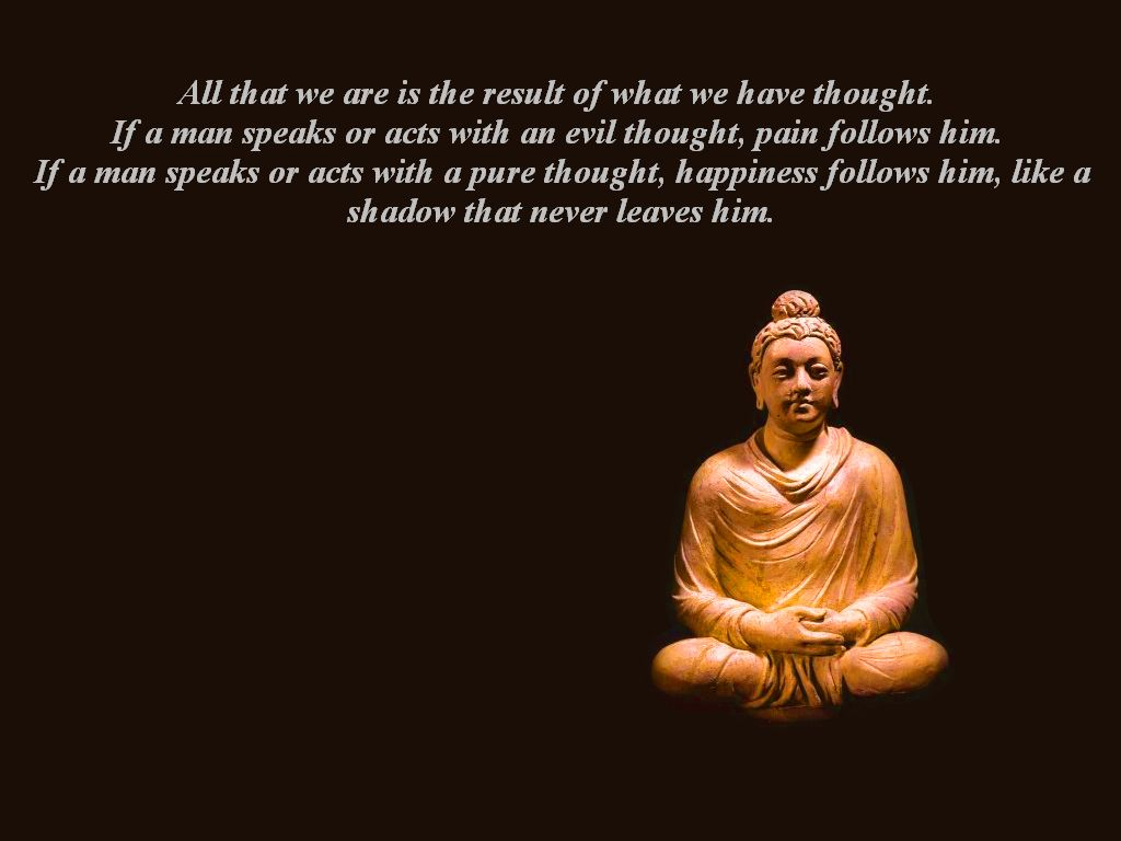 """ All That We Are Is The Result of What We Have Thought. If A Man Speaks Or Acts With An Evil Thought…   ~ Religion Quote"