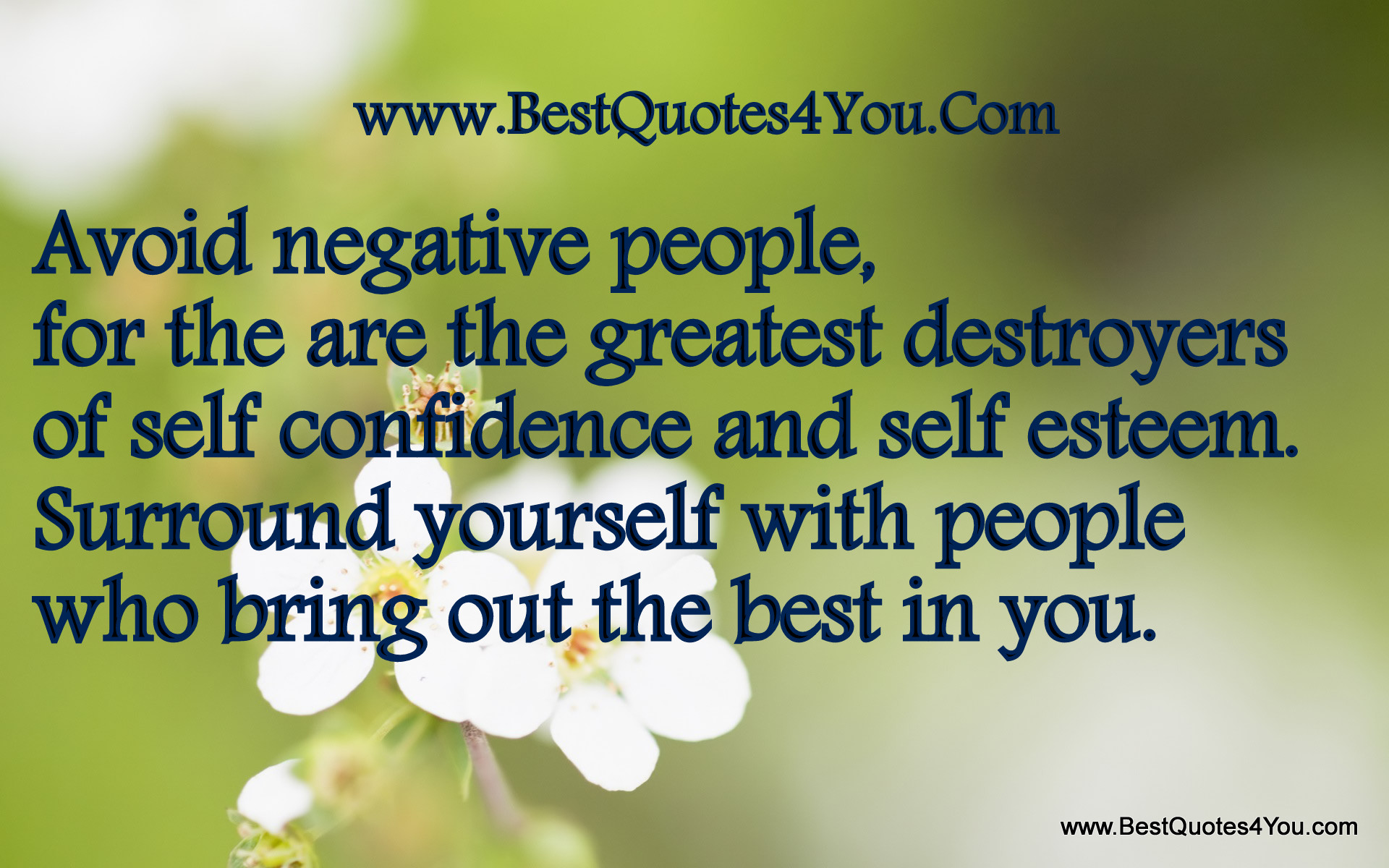 Quotes About Self Esteem Avoid Negative People For The Are The Greatest Destroyers Of Self