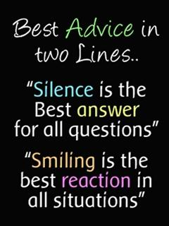 Best Advice In Two Lines Silence Is The Best Answer For All
