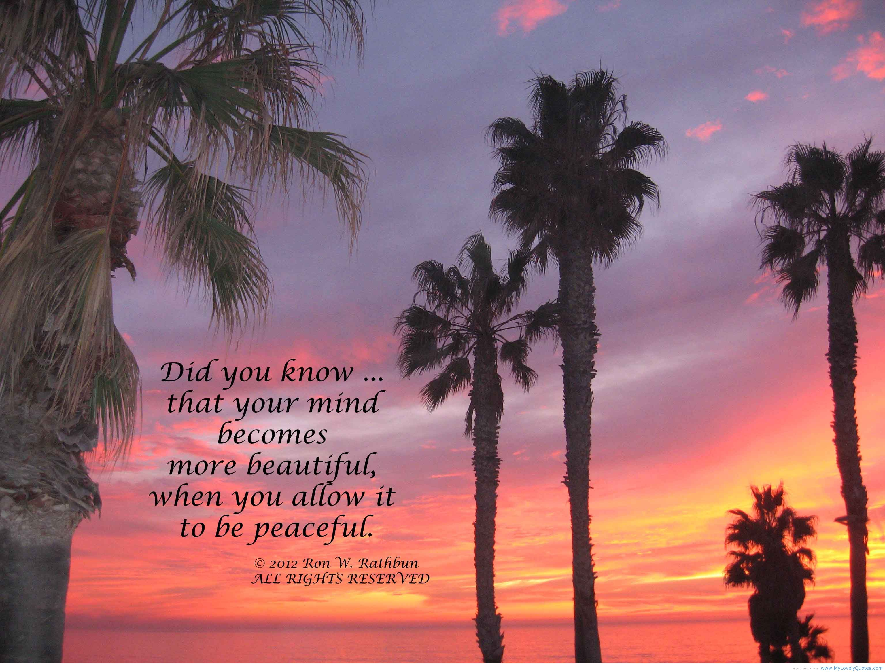 """ Did You Know That Your Mind Becomes More Beautiful When You Allow It To Be Peaceful "" - Ron W. Rathbun"