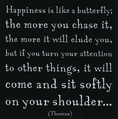 """"""" Happiness Is Like A Butterfly, The More You Chase It, The More It Will Elude You, But If You Turn Your Attention To Other Things, It Will Come And Sit Softly On Your Shoulder """"   ~ Smile Quote"""