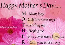 Happy Mother's Day, M  Many Hugs, O  Only Love Never Anger, T