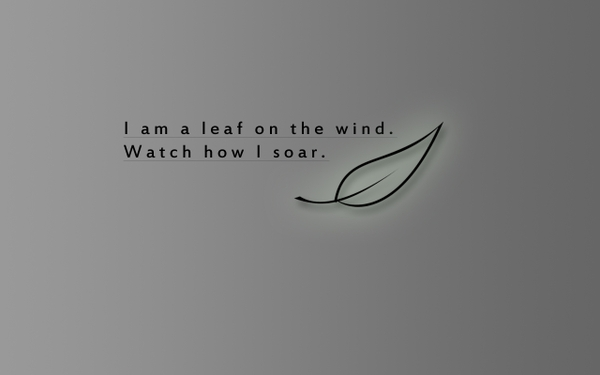 "i am a leaf on the wind watch how i soar "" nature quote"
