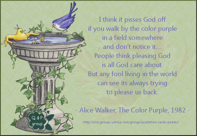 I Think It Pisses God Off If You Walk By The Color Purple In A Field