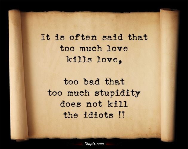 Quotes About Love Killing You : Much Love Kills Love, Too Bad That Too Much Stupidity Does Not Kill ...
