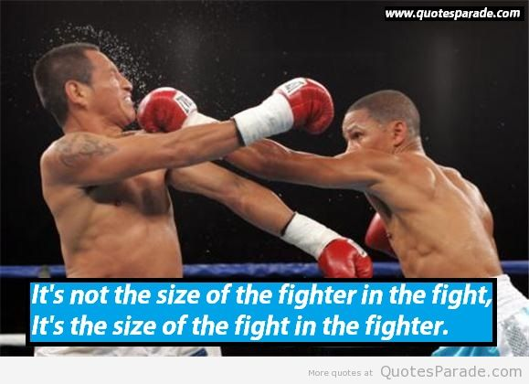 """ It's Not The Size Of The Fighter In The Fight, It's The Size Of The Fight In The Fighter ""   ~ Sports Quote"