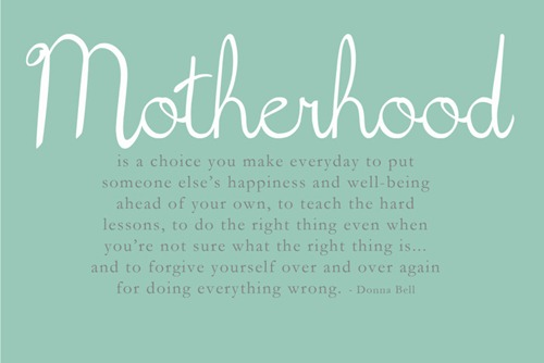 mothehood is a choice you make everybody to put someones else s