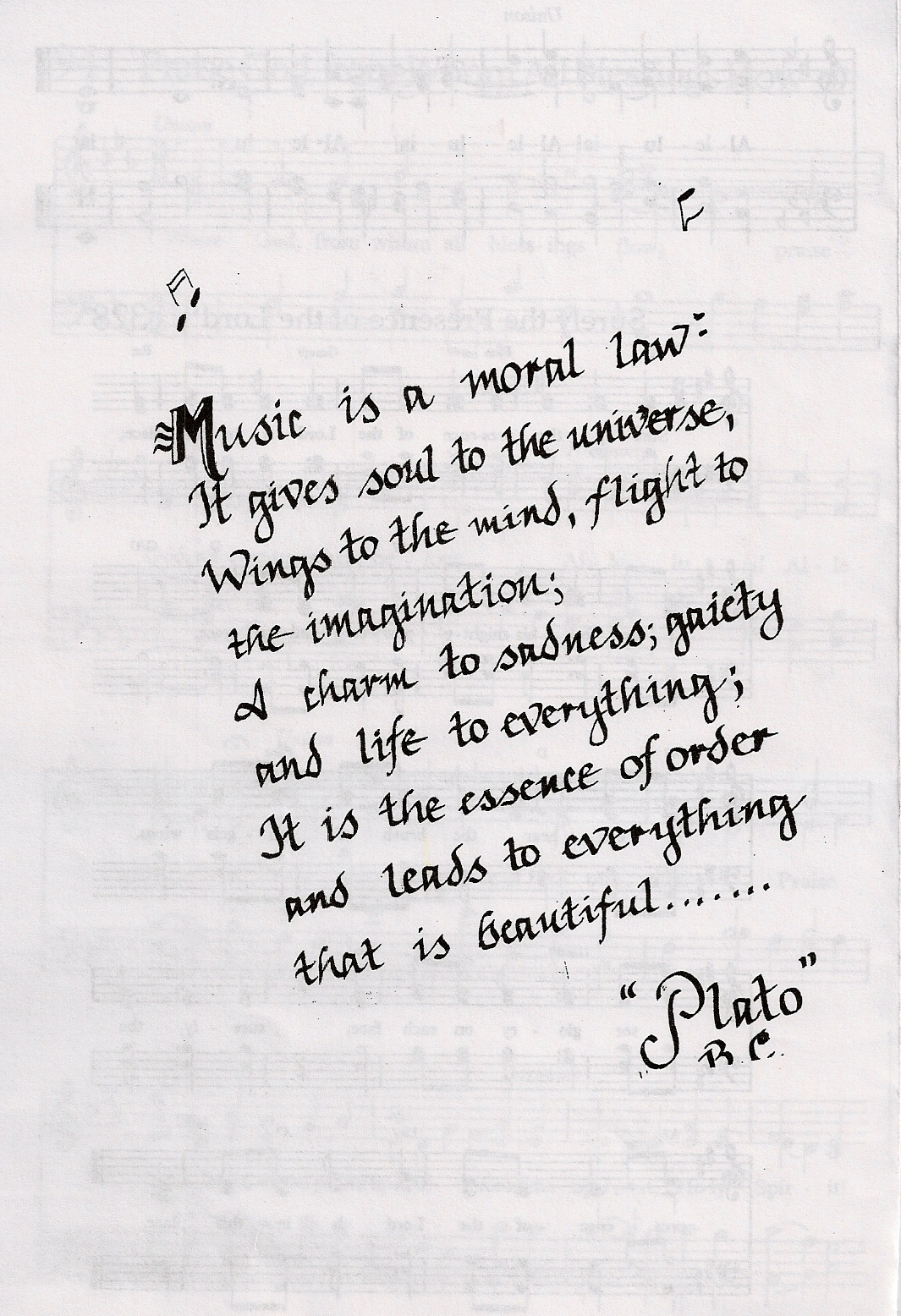 Music Is A Normal Law It Gives Soul To The Universe Wings To The