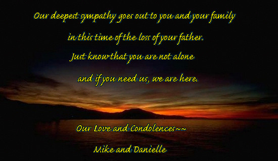 Our Deepest Sympathy Goes Out To You and Your Family In This ...