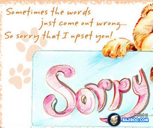 """ Sometimes The Words Just Come Out Wrong So Sorry That I Upset You """