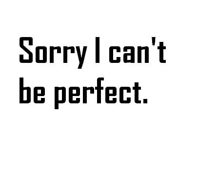 """ Sorry I Can't Be Perfect """