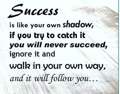Success In Life Your Own Shadow, If You Try To Catch It You Will