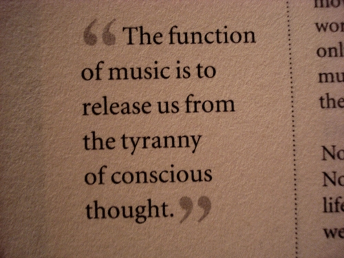 """ The Function Of Music Is To Release Us From The Tyranny Of Conscious Thought """