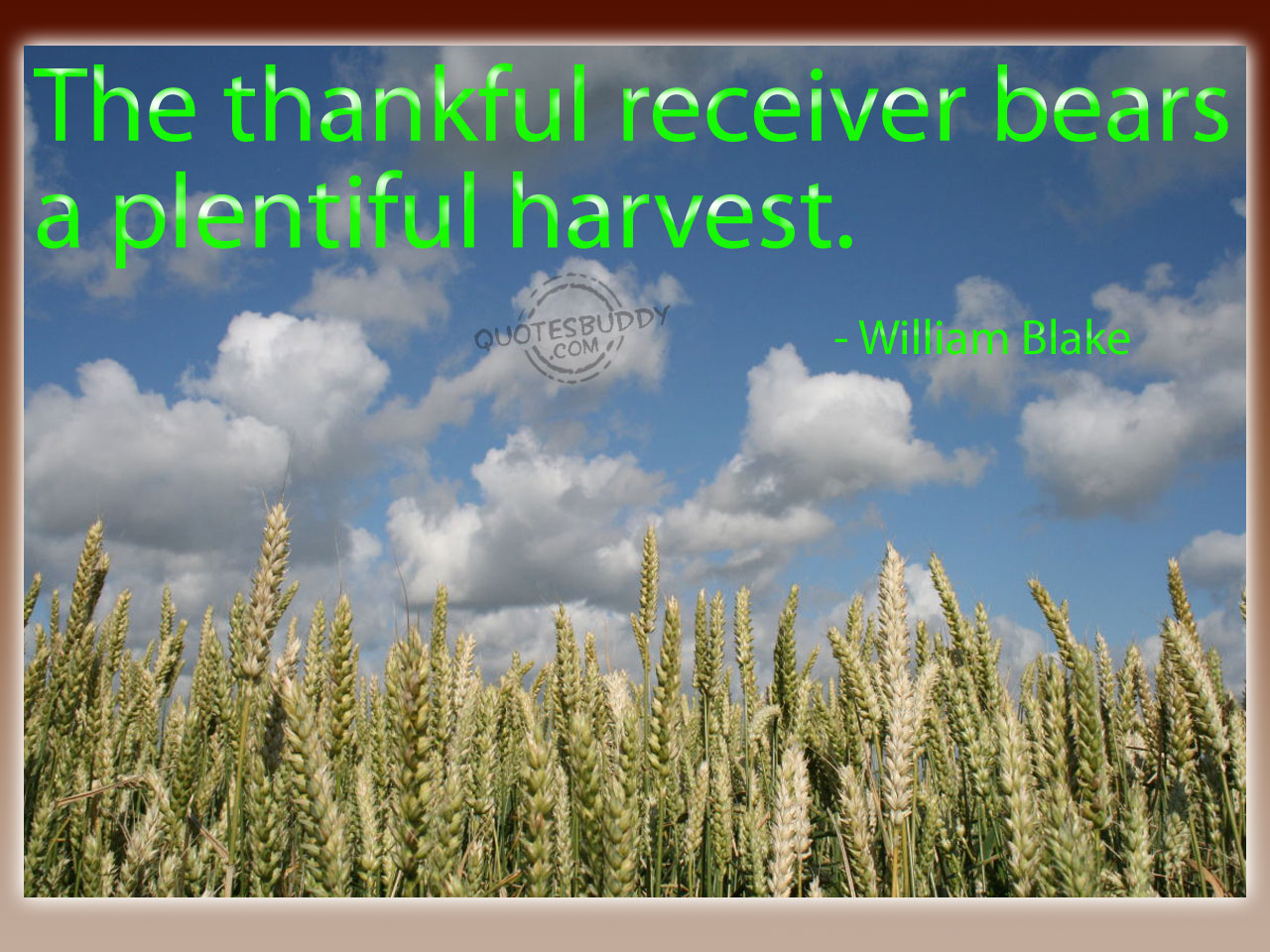 """ The Thankful Receiver Bears A Plentiful Harvest "" - William Blake"
