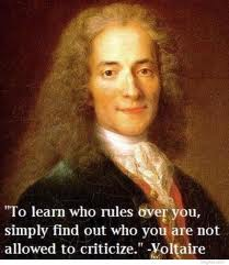 """ To Learn Who Rules Over You, Simply Find Out Who You Are Not Allowed To Criticize "" - Voltaire   ~ Politics Quote"